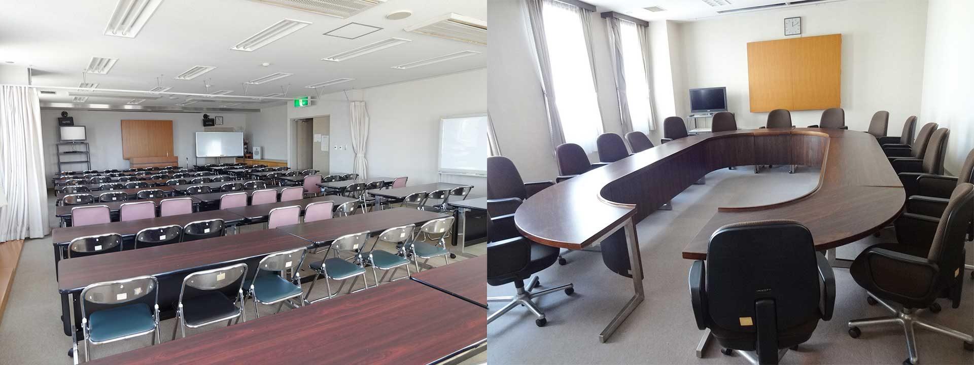 最大収容人員81名の一般研修室と落ち着いた調度品の特別会議室、こちらは18名様までのご利用が可能です。